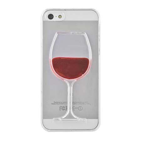 iPhone 5, 5s etui z płynem w środku czerwone wino