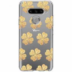 Etui na LG K50s - Złote koniczynki