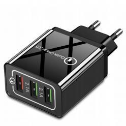 Szybka Ładowarka sieciowa Quick Charge 3.0 3x USB - Czarna