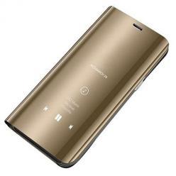 Etui na Huawei Y5P Flip Clear View z klapką - Złoty.