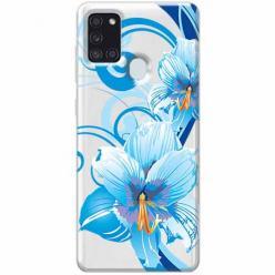 Etui na Samsung Galaxy A21s - Niebieski kwiat północy.
