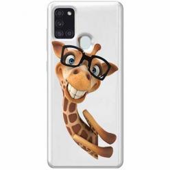 Etui na Samsung Galaxy A21s - Wesoła żyrafa w okularach.