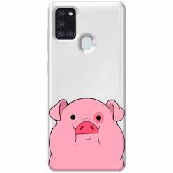 Etui na Samsung Galaxy A21s - Słodka różowa świnka.