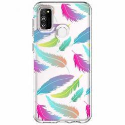 Etui na Samsung Galaxy M21 - Tęczowe piórka.