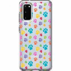 Etui na Samsung Galaxy S20 - Kolorowe psie łapki.