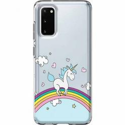 Etui na Samsung Galaxy S20 - Jednorożec na tęczy.