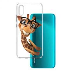 Etui na Xiaomi Redmi 9A - Wesoła żyrafa w okularach.