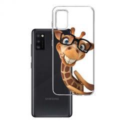 Etui na Samsung Galaxy A41 - Wesoła żyrafa w okularach.
