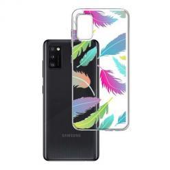 Etui na Samsung Galaxy A41 - Tęczowe piórka.