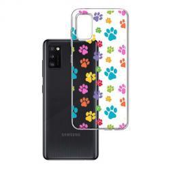 Etui na Samsung Galaxy A41 - Kolorowe psie łapki.