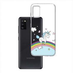 Etui na Samsung Galaxy A41 - Jednorożec na tęczy.