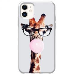 Etui na telefon Slim Case - Żyrafa w okularach z gumą