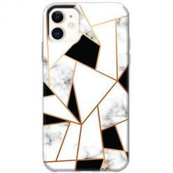 Etui na telefon Slim Case - Biały marmur geometryczny