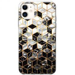 Etui na telefon Slim Case - Geometryczny marmur czarno biały
