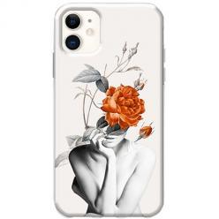 Etui na telefon Slim Case - Abstrakcyjna Kobieta z różami