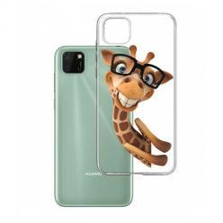 Etui na Huawei Y5P - Wesoła żyrafa w okularach.