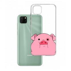 Etui na Huawei Y5P - Słodka różowa świnka.