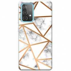 Etui na Samsung Galaxy A52 5G Biały marmur w trójkąty