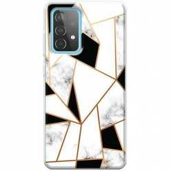 Etui na Samsung Galaxy A52 5G Biały marmur geometryczny