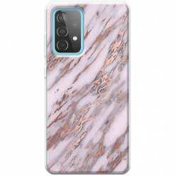 Etui na Samsung Galaxy A52 5G Różowy marmur pozłacany