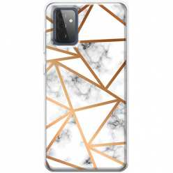 Etui na Samsung Galaxy A72 5G Biały marmur w trójkąty