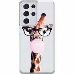 Etui na Samsung Galaxy S21 Ultra Żyrafa w okularach z gumą