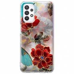 Etui na Samsung Galaxy A32 5G Czerwone kwiaty pozłacane