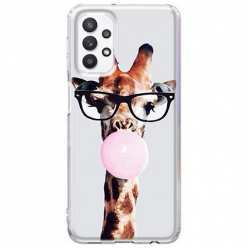 Etui na Samsung Galaxy A32 5G Żyrafa w okularach z gumą