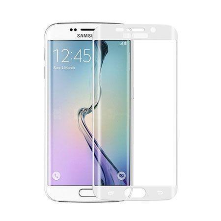 Galaxy S6 Edge Białe hartowane szkło na cały ekran.