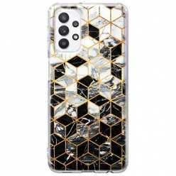 Etui na Samsung Galaxy A32 5G Geometryczny marmur czarno biały