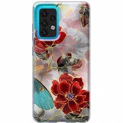 Etui na Samsung Galaxy A02s Czerwone kwiaty pozłacane