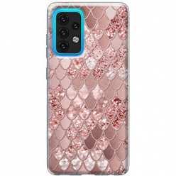 Etui na Samsung Galaxy A02s Brokatowe łuski rózowe