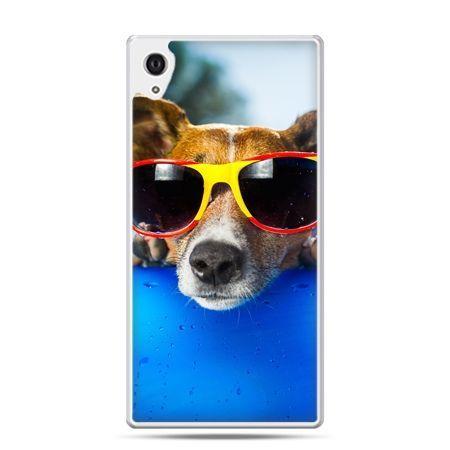 Etui na Xperia M4 Aqua pies w kolorowych okularach