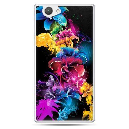Xperia Z1 compact etui kolorowe kwiaty
