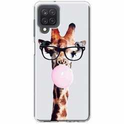 Etui na Samsung Galaxy M12 Żyrafa w okularach z gumą