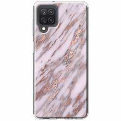 Etui na Samsung Galaxy M12 Różowy marmur pozłacany