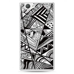 Xperia Z1 compact etui czarno białe trójkąty