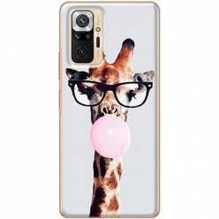 Etui na Xiaomi Redmi Note 10 Pro Żyrafa w okularach z gumą
