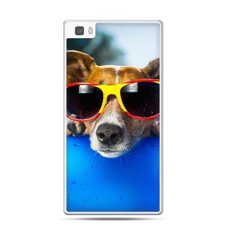 Huawei P8 Lite etui pies w kolorowych okularach