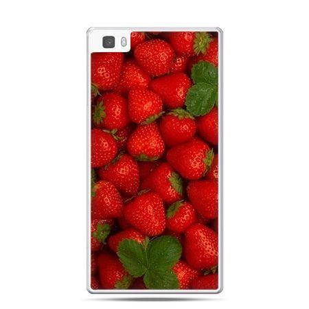Huawei P8 Lite etui czerwone truskawki