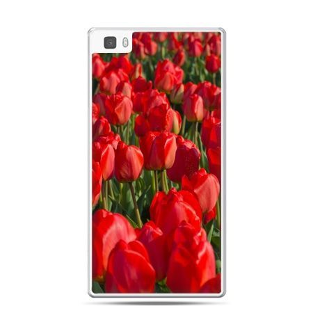 Huawei P8 Lite etui czerwone tulipany