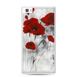 Huawei P8 Lite etui czewrwone maki