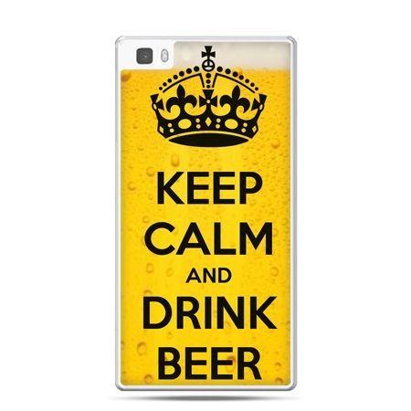 Huawei P8 Lite etui Keep calm and drink beer