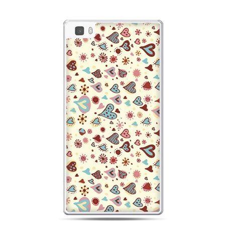 Huawei P8 Lite etui kolorowe serca