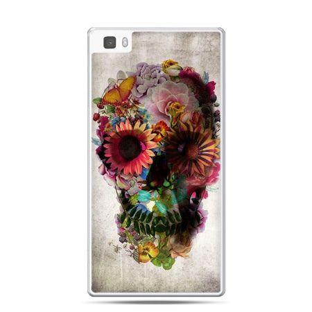 Huawei P8 Lite etui czaszka z kwiatami
