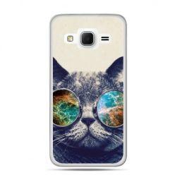 Galaxy Grand Prime etui kot w tęczowych okularach