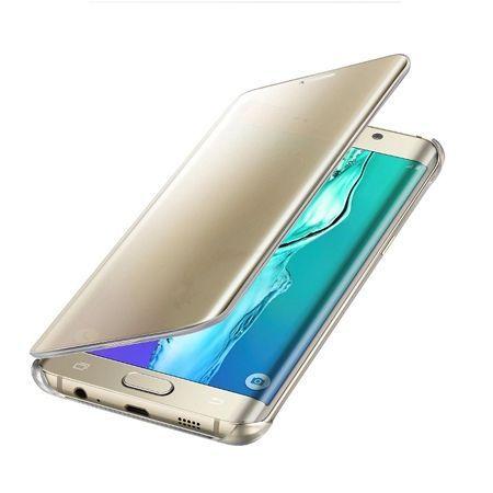 Etui na Galaxy S6 Edge Flip Clear View z klapką - złoty.
