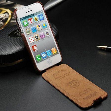 iPhone 5 5s etui skórzane z klapką czerwony