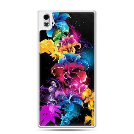 HTC Desire 816 etui kolorowe kwiaty