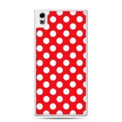 HTC Desire 816 etui czerwona polka dot